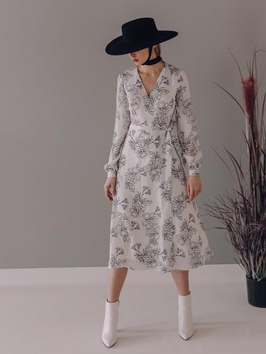 Платье с цветочным принтом на запах