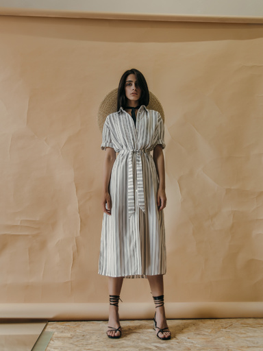 T-shirt dress in stripe with belt