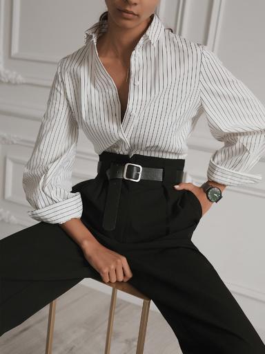 Рубашка прямого кроя в полоску