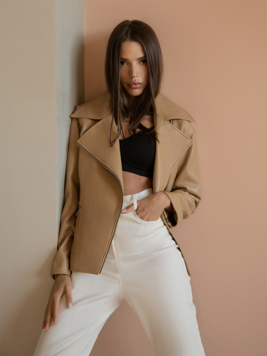 Eco-leather jacket with metal fittings