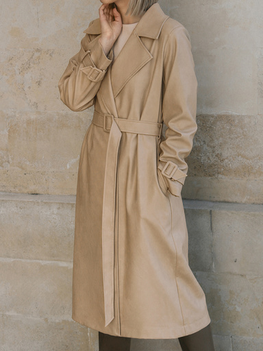 Eco-leather trench coat with belt and strappy sleeves