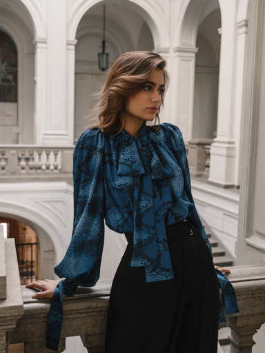 Blouse with animal print collar scarf and slouchy sleeves