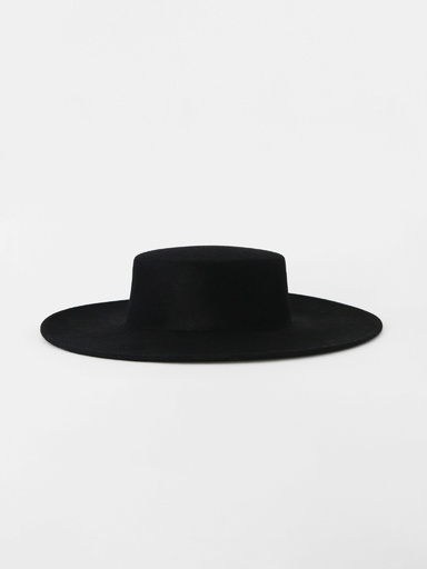 Wide-brimmed hat with ribbons